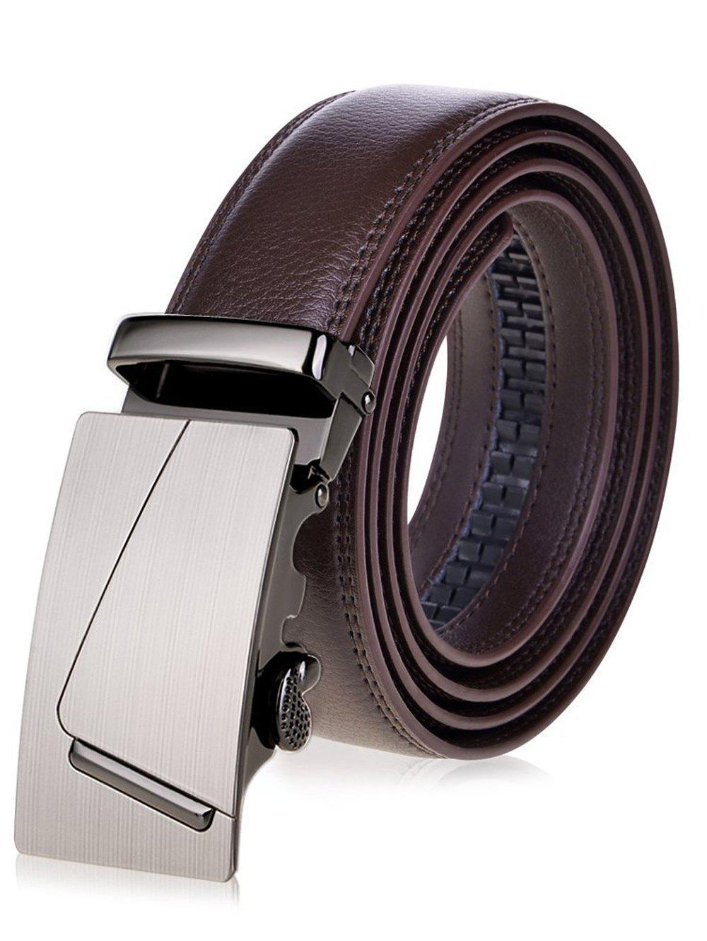 Wide Waist Belt with Rectangle Automatic Buckle - BROWN