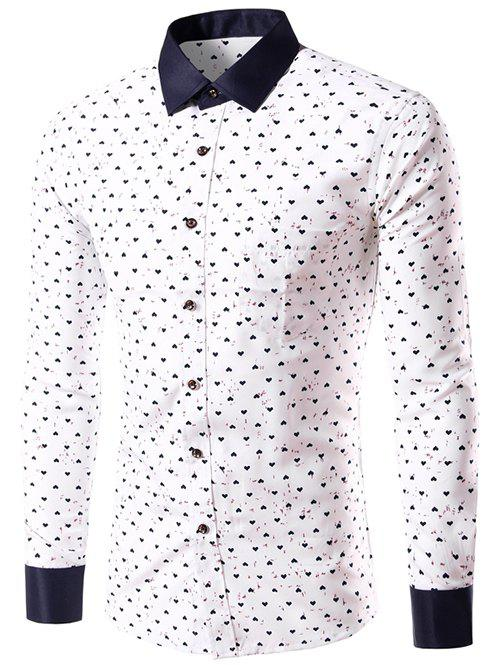 Long Sleeve Graphic Heart Print Shirt - WHITE L
