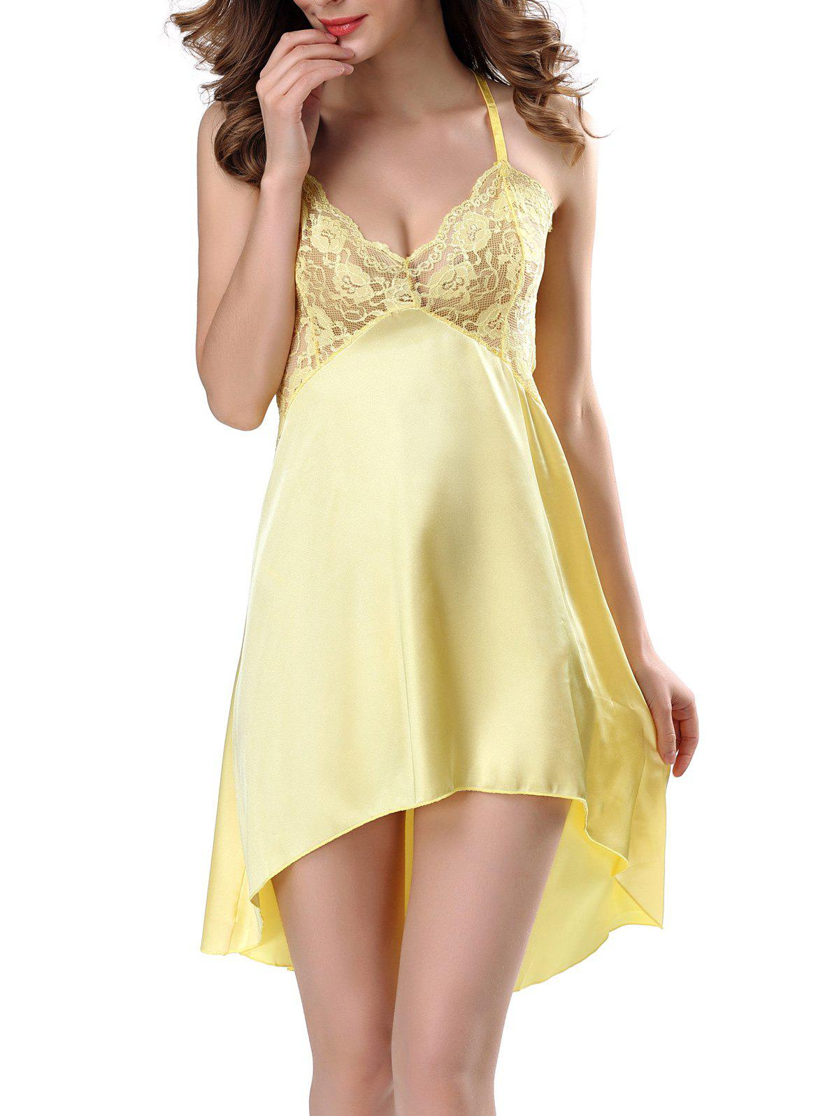 High Low Sleepwear Lace Insert Cami Babydolls - YELLOW XL