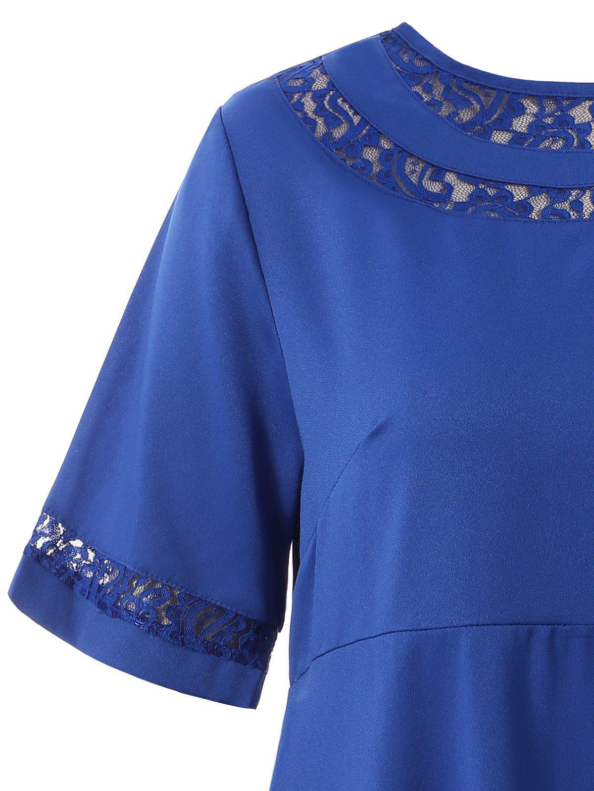 Lace Trim plus robe Taille Shift - Bleu 4XL