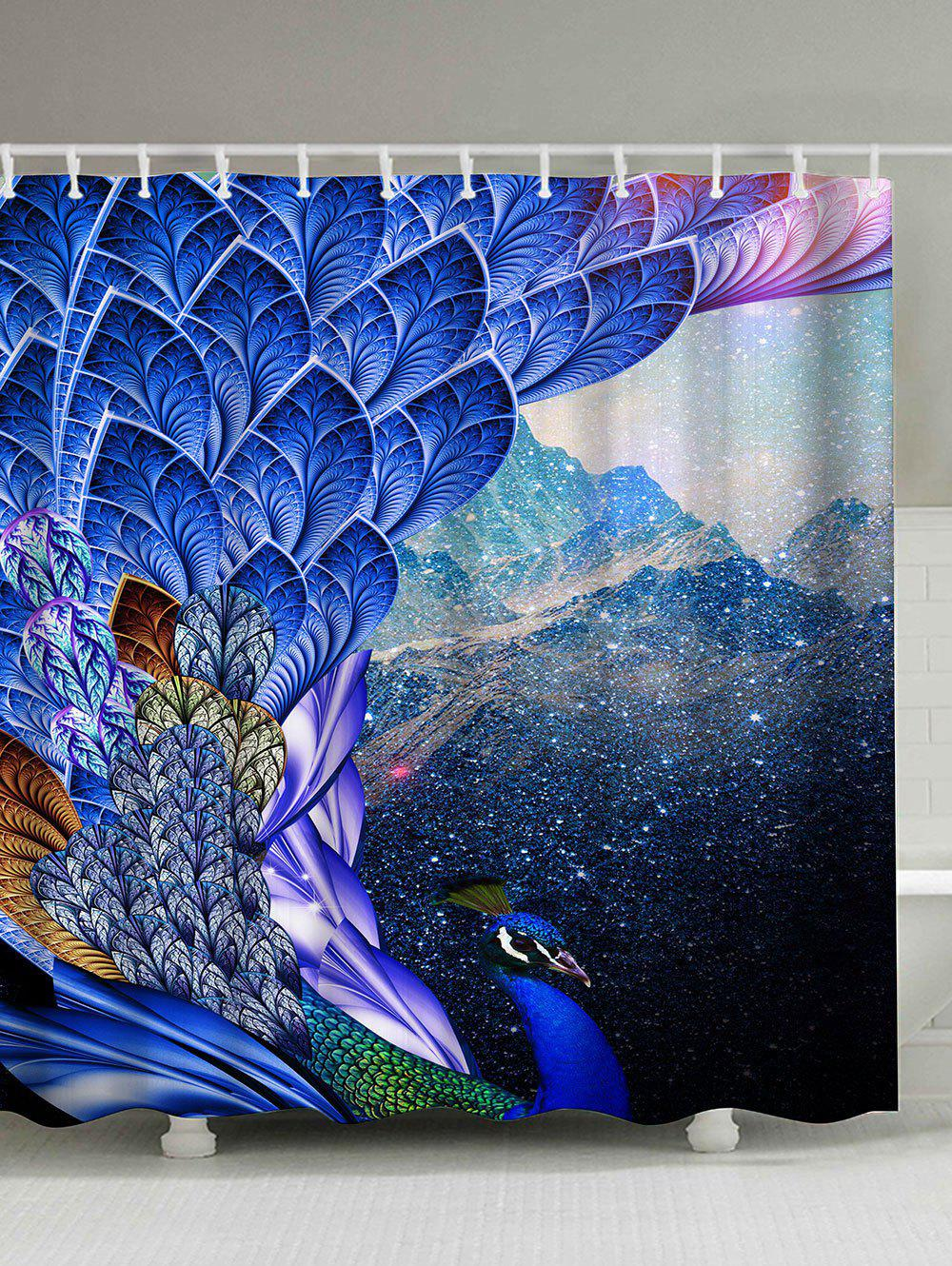 Mouldproof Waterproof Shower Peacock Print Curtain - BRIGHT BLUE 180*180CM