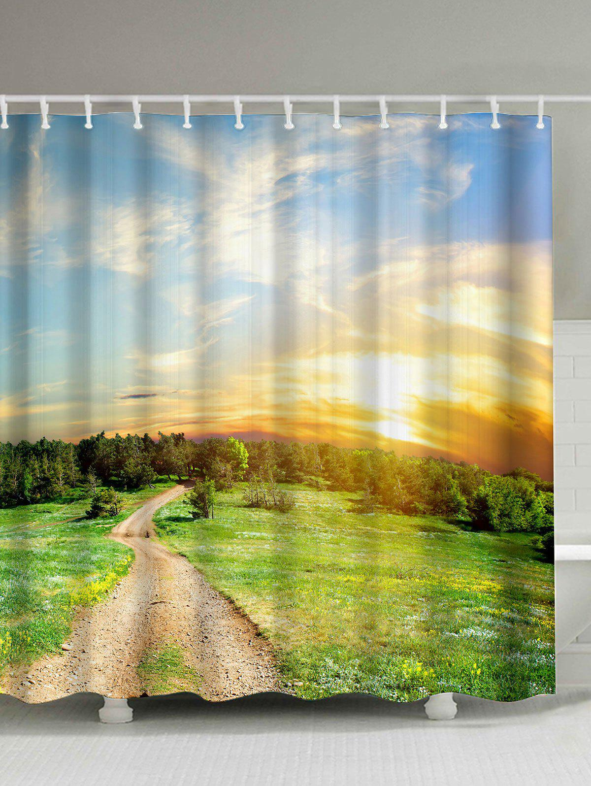 nature scenery print waterproof fabric shower curtain colormix 2 cm