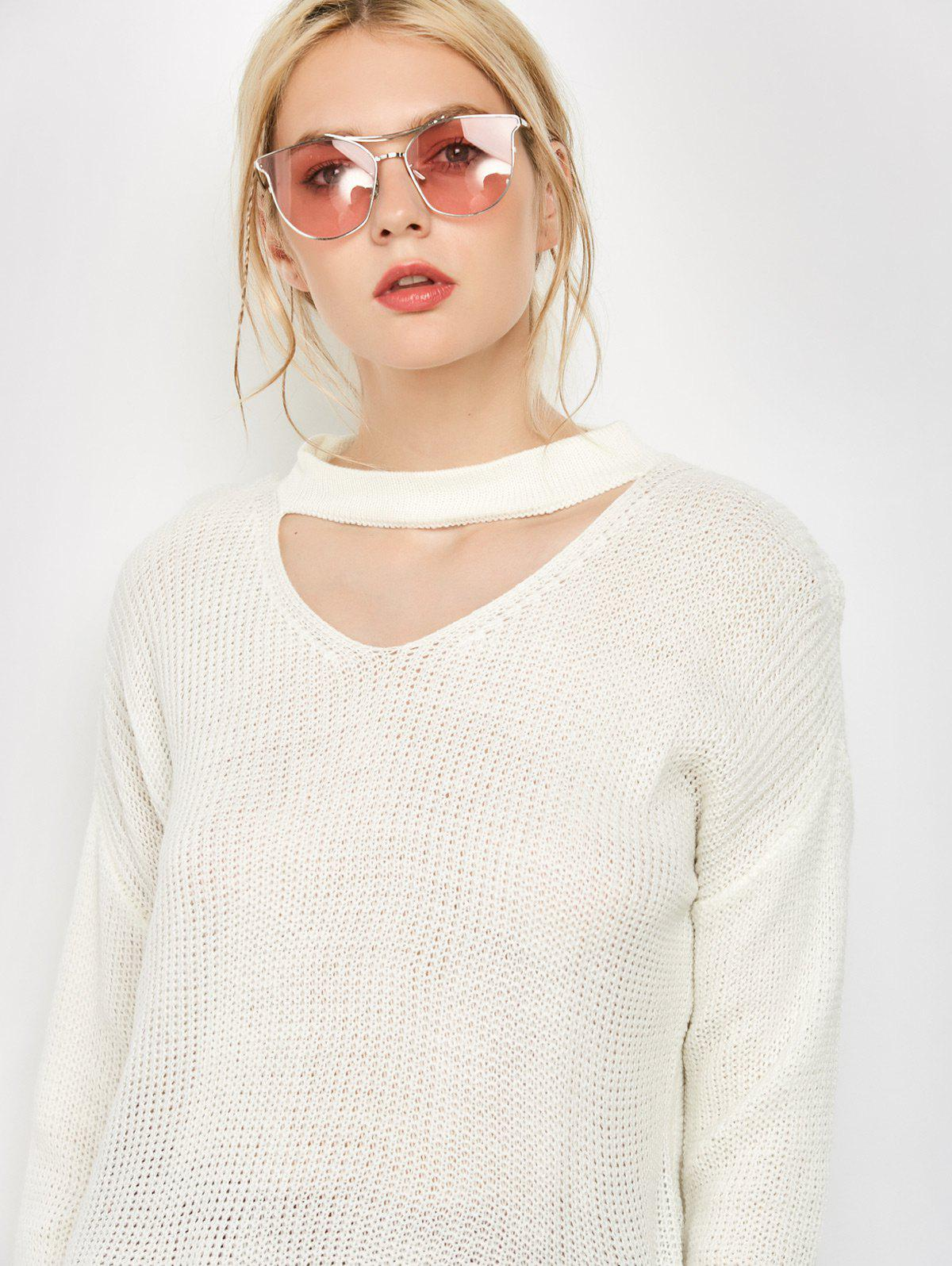 Skinny Cotton Long Sleeve Choker T-Shirt - WHITE S