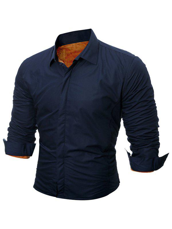 Buttoned Long Sleeve Flocking Shirt - CADETBLUE L