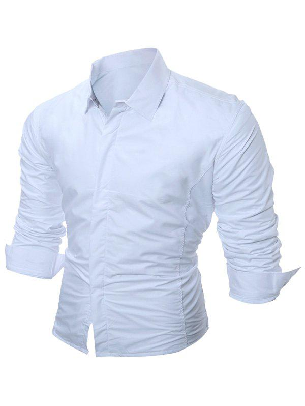 Buttoned Long Sleeve Flocking Shirt - WHITE M