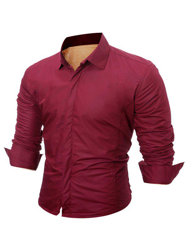 Buttoned Long Sleeve Flocking Shirt - WINE RED M