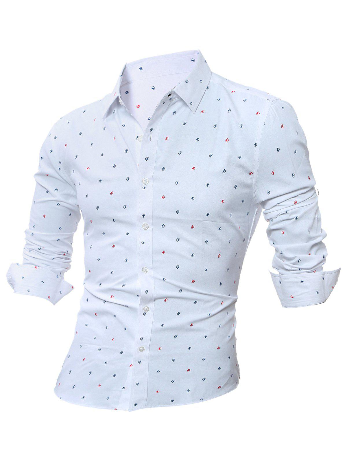 Long Sleeve Scattered Printed Shirt - WHITE 3XL