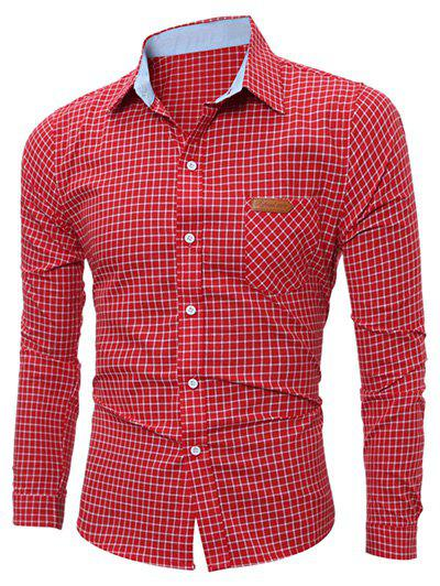 Long Sleeve Pocket Gingham Shirt asymmetric gingham pocket shirt