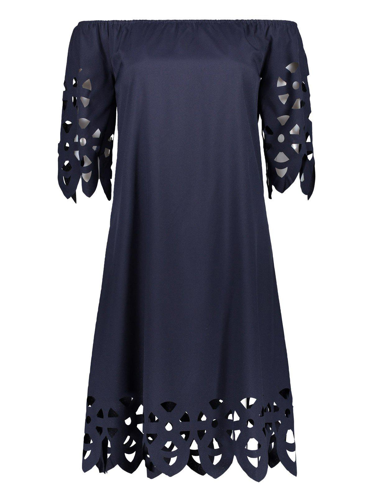 Off The Shoulder évider Mini Robe chasuble - Bleu Cadette XL