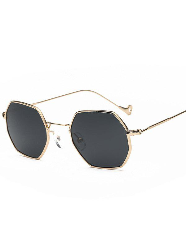 Polygon Mirrored Hollow Out Leg Sunglasses - GOLD FRAME / BLACK LENS