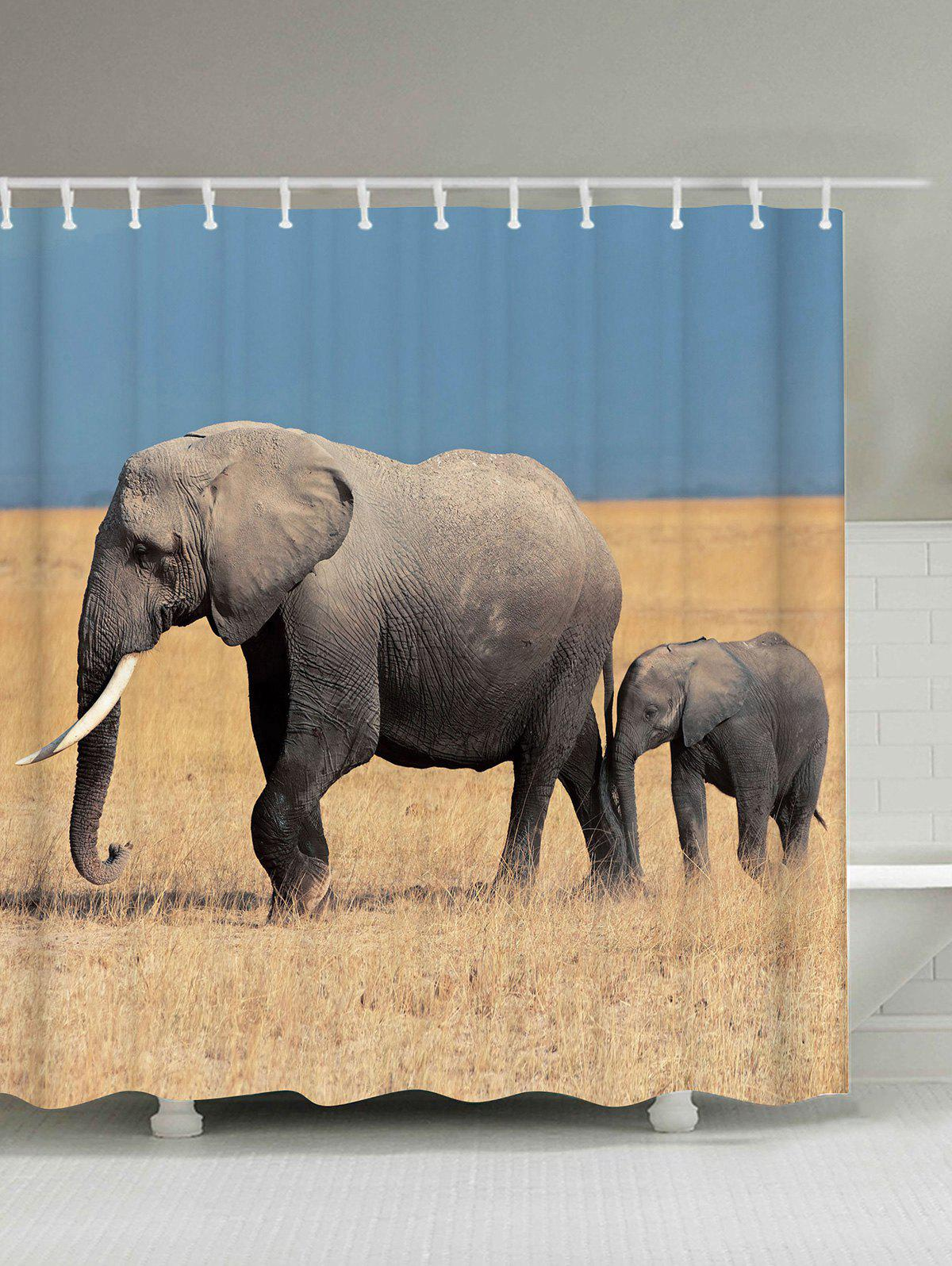 Elephants Polyester Waterproof Bath Curtain - COLORMIX 150*180CM
