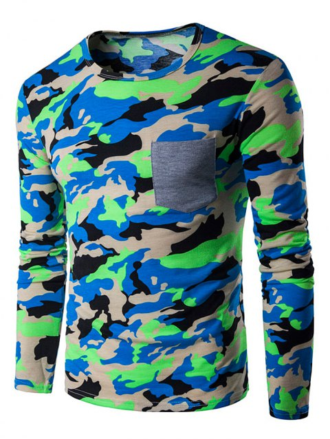 Camouflage Panel Crew Neck T-Shirt - NEON GREEN XL