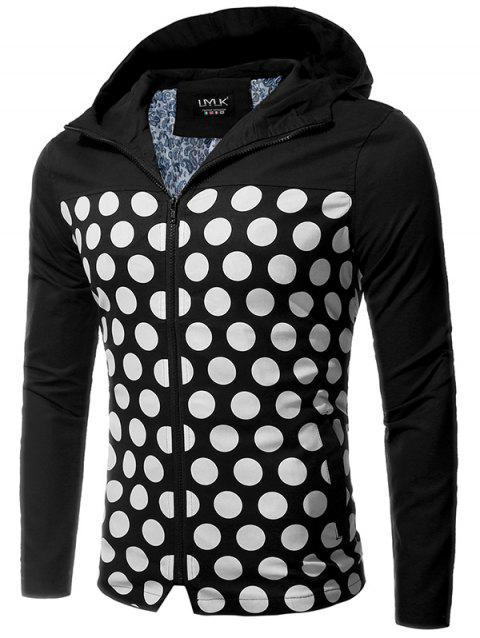 Veste Zipper Up Polka Dot Hooded - Noir M