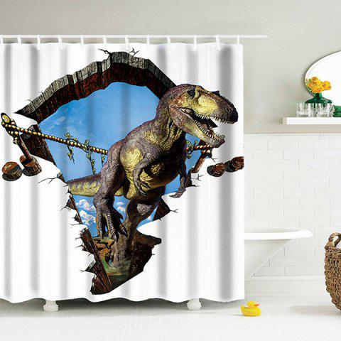 3D Dinosaur Waterproof Shower Curtain With Hooks