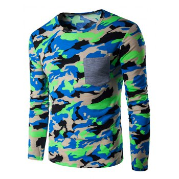 Camouflage Panel Crew Neck T-Shirt