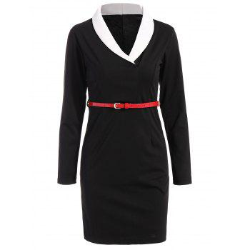 Long Sleeve Belted Shawl Collar Sheath Dress