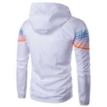Ombre Stripe Raglan Sleeve Jacket - WHITE XL