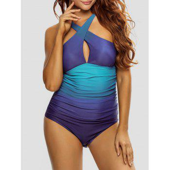 Crisscross Back Ombre Padded One Piece Swimsuit
