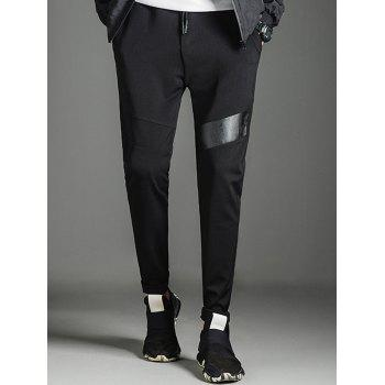 Drawstring Faux Leather Panel Sweatpants