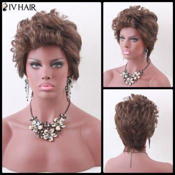 Siv Hair Color Mix Short Fluffy Curly Human Hair Wig