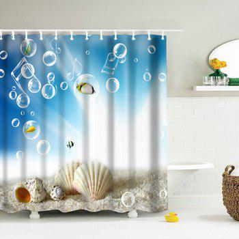 3D Shell Water Resistant Shower Curtain with Hooks