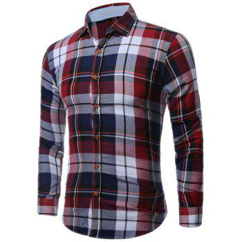 Long Sleeve Buttoned Bold Plaid Shirt - COLORMIX M