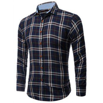 Buttoned Long Sleeve Large Plaid Shirt