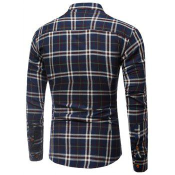 Buttoned Long Sleeve Large Plaid Shirt - 3XL 3XL