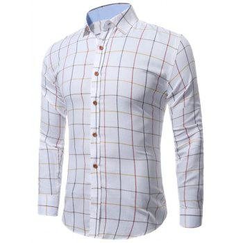 Windowpane Check Long Sleeve Shirt - CHECKED 3XL