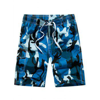 Pocket Drawstring Waist Camo Board Shorts