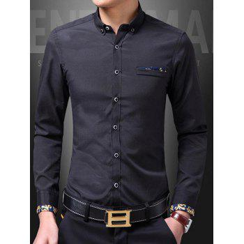 Button Front Print Long Sleeve Shirt - BLACK L