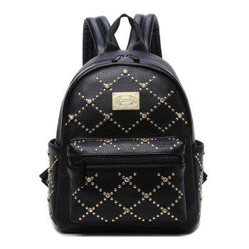 Rhinestone Rivet Fuax Leather Backpack