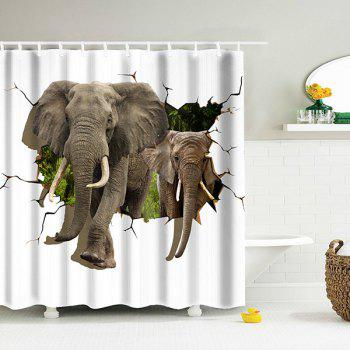 3D Elephant Shower Curtain with Plastic Hooks