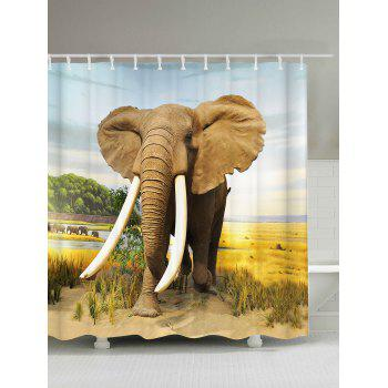 Elephant Waterproof Polyester Shower Curtain