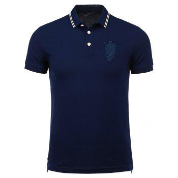 Buttoned Hem Patch Design Polo Shirt