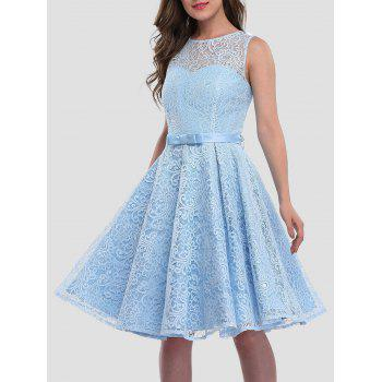 Sleeveless Knee Length Lace Prom Cocktail Skater Dress