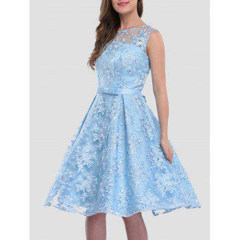 Floral Embroidered Knee Length Party Dress