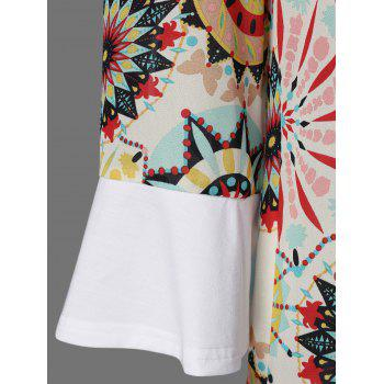 Flare Sleeve Graphic Longline T-Shirt - WHITE 2XL