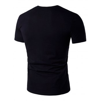 Eyelet Design Short Sleeve T-Shirt - BLACK M