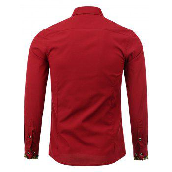 Button Front Print Long Sleeve Shirt - WINE RED WINE RED