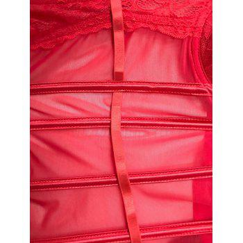 Padded See-Through Insérer Corset - Rouge L