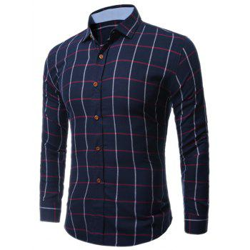 Buttoned Long Sleeve Large Grid Shirt - CHECKED CHECKED