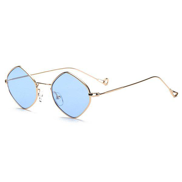 Rhombus Mirrored Hollow Out Legs Sunglasses - GOLDEN/ICE BLUE
