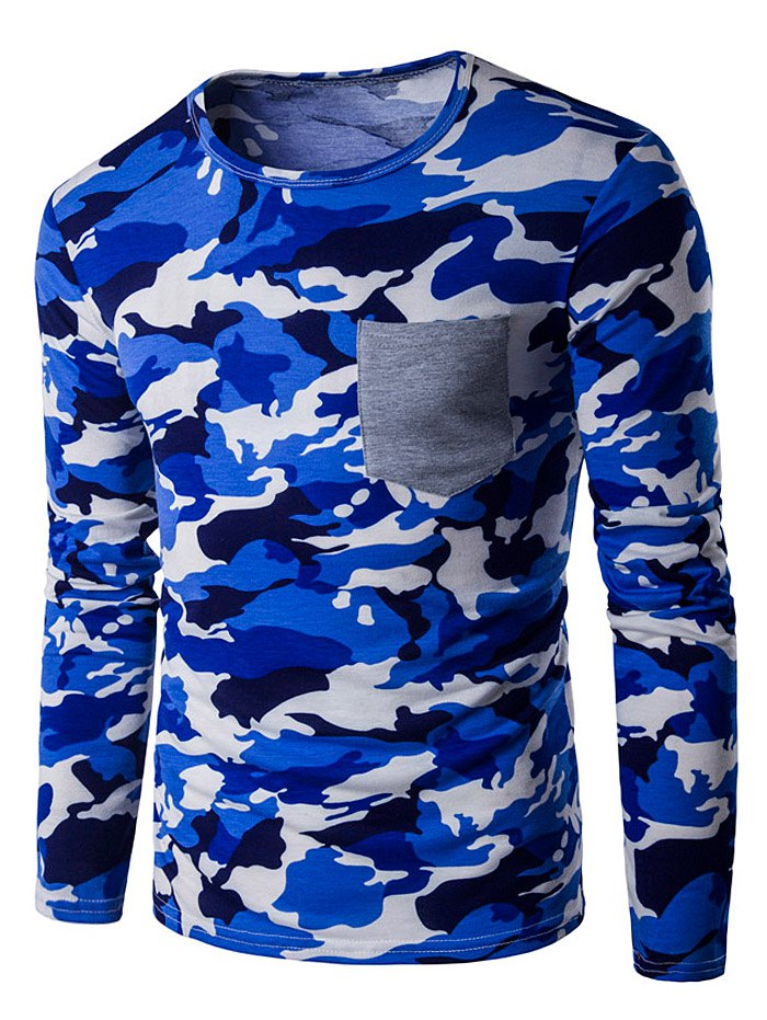 Camouflage Panel Crew Neck T-Shirt - BLUE XL