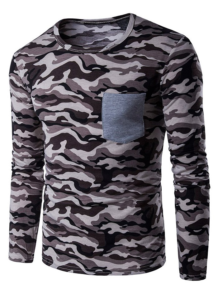 Camouflage Panel Crew Neck T-Shirt - COFFEE L