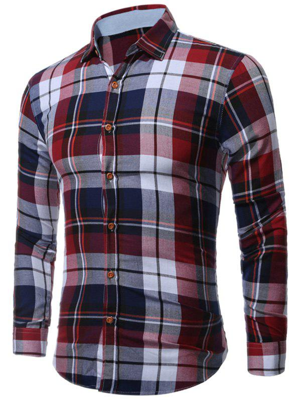 Long Sleeve Buttoned Bold Plaid Shirt - COLORMIX L