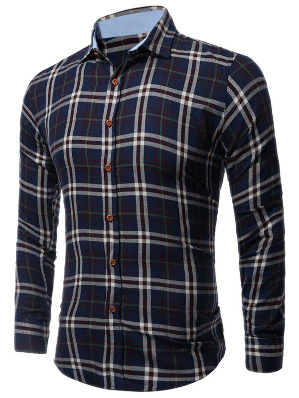 Buttoned Long Sleeve Large Plaid Shirt - CHECKED 3XL