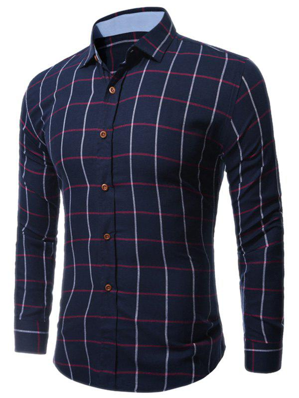 Buttoned Long Sleeve Large Grid Shirt - CHECKED 3XL