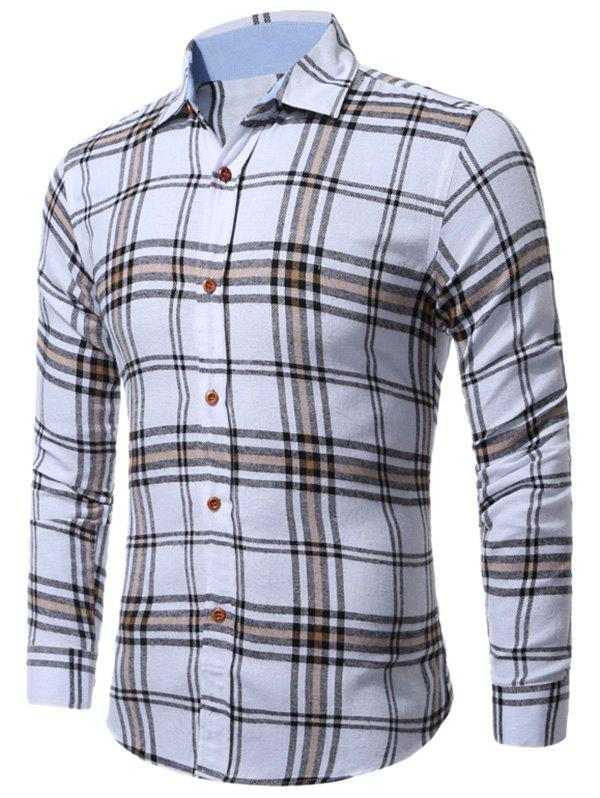 Long Sleeve Buttoned Multi Check Shirt - CHECKED 2XL