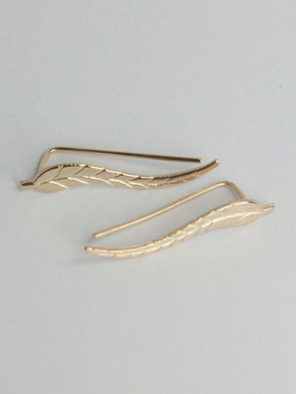 Leaf Alloy Earrings - GOLDEN